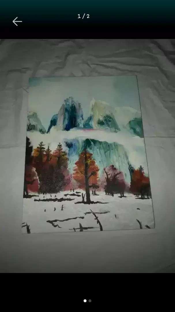 Pintura en Óleo- Bosque de pinos en invierno
