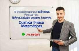 Clases de Química, Matemáticas y Física en Medellin a Domicilio. Talleres y exámenes.