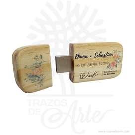 USB en madera de pino 8 gb de 6 x 3 x 1,2 cm para personalizar – Precio COP