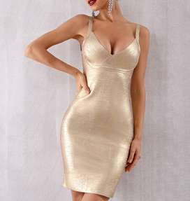 Vestido Bandage Dorado Talla S