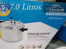 OLLA A PRESIÓN HOME ELEMENTS 7.0 Litros con 5 sistemas de seguridad integrados ➕vaporera