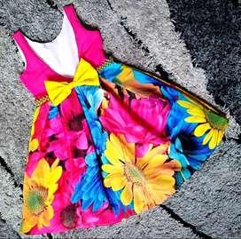 Vestido de Pliegues Flor Fucsia