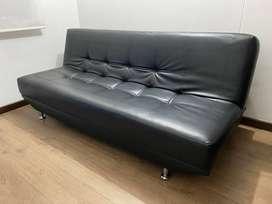 Sofa Cama Negro Cuerina