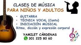 Clases de guitarra, piano y técnica vocal.