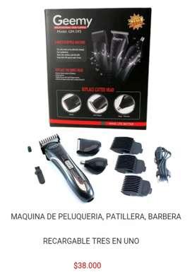 Cortadora patillera barbera rasuradora maquina peluqueria cortar barba bello pelo nariz geemy 3 en 1 portatil recargable