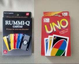 Rummi Q y Uno cartas juegos de mesa