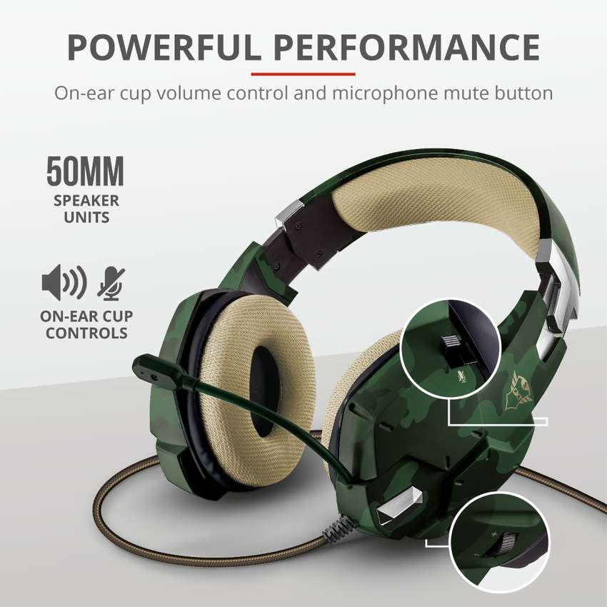Audifono Diadema Gamer Trust Gxt 322C Carus Jungle Camo 3.5 Mm Pc,Laptop,Ps4,Xbox One Verde Camuflado 0