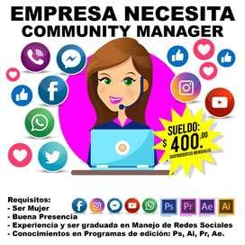 SE NECESITA COMMUNITY MANAGER