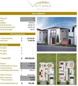 Casas en Venta Proyecto Urbanización Vistana km 12.5 Financiamiento Biees