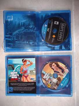 CD vídeo juego DAYS GONE  Y  GRAND THEFT AUTO FIVE   PS 4
