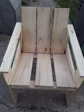 Reposera fija de madera