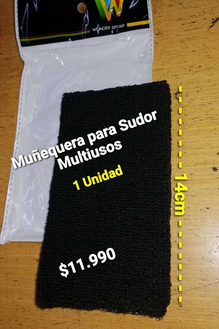 MUÑEQUERA  PARA SUDOR NEGRA. GRANDE 14CM.