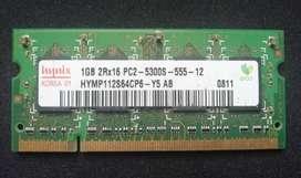 Memoria RAM 1GB DDR2 para portatil