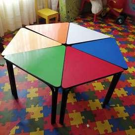 Juego de mesas hexagonales para niños