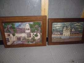 cuadros en alto relieve marco en madera de 46alto x 65   42  alto