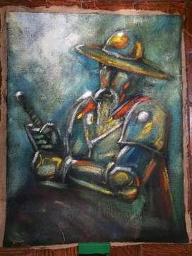 Don Quijote de la mancha, Varcarcel, óleo sobre yute, de colecciòn