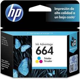 CARTUCHO HP TINTA 664 COLOR y negro HP