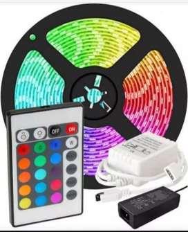 Cinta led RGB multicolor con control y adaptador x 5 metros