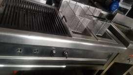 Estufa en acero con freidora