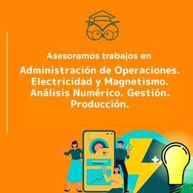 Trabajos de Administración de operaciones, Electricidad y magnetismo, Análisis numérico, Gestión, producción
