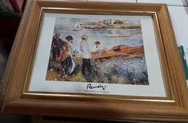 1 cuadro con marco crudo y dorado con lamina 28 cm x 23 cm