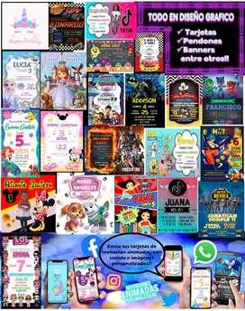 Diseño Gráfico de Tarjetas para cumpleaños, quinceañeros, difuntos, eventos, Pendones, Banners y  tarjetas para Whatsapp