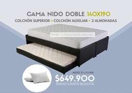 OFERTA! cama nido tamaño doble 140x190 + 2 colchones ( superior y auxiliar) + 2 almohadas + envío gratis Bogotá