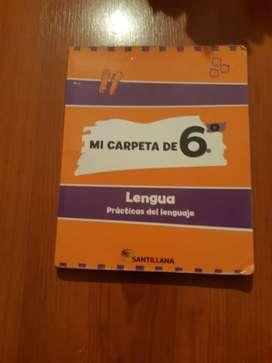 libro primario mi carpeta de 6° practicas de lenguaje  santillana