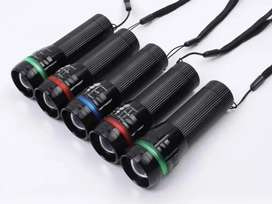 Linterna led 3w unicolor 1 color pilas AAA azul rojo verde rosado amarillo luz portátil