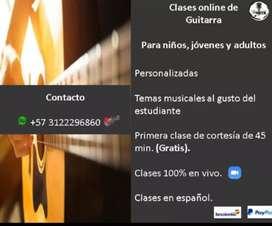 Clases Online/Presencial de Guitarra Acústica o Eléctrica; para niños, jóvenes y adultos.