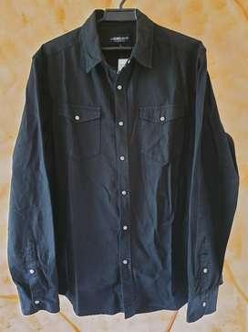 Camisa Importada Casual Negra L Broches