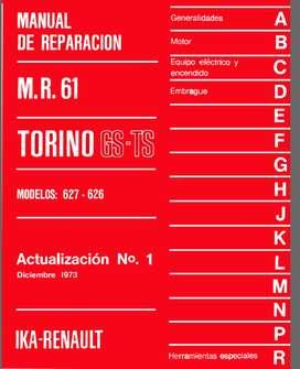 TORINO MODELOS 627-626 MANUAL DE REPARACION ACTUALIZACION 1 1973