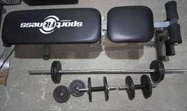 juego de pesas con banca para abdominales