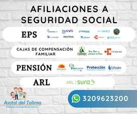 Seguridad social - EPS, PENSION, ARL,Y CAJA DE COMPENSACION FAMILIAR