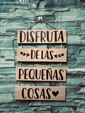Letreros Decorativos en Madera Pino