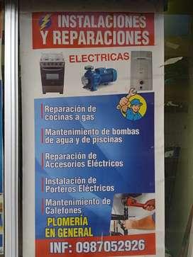 Instalaciones i reparaciones eléctricas y artefactos eléctricos  y calefones plomería en jeneral