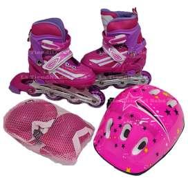 Patines + Kit Protección Infantiles Skates Con Luces Graduables CHICAGO Tallas 28 -33