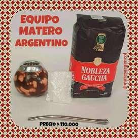 SET MATERO ARGENTINO! MATE CALABAZA NATURAL VETEADO con BOMBILLA y YERBA MATE 500 GRAMOS!