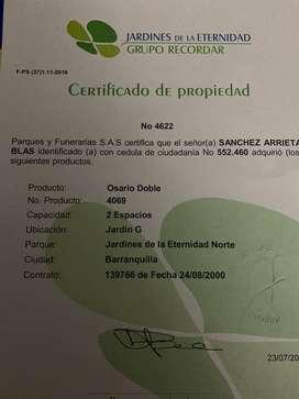 OSARIO LOTE CEMENTERIO JARDINES DE LA ETERNIDAD BARRANQUILLA