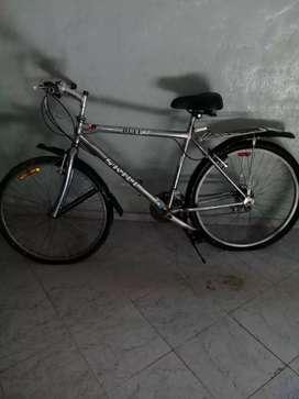 Bicicleta cromada todo terreno equipada