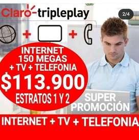 Servicio de televisión con claro e internet de 150 megas y lo mejor y si eres usuario móvil postpago claro
