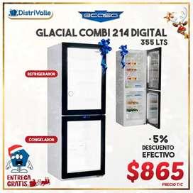 Vitrina Congelador-Refri Ecasa Glacial Combi 214, 355LTS