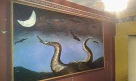 Cuadro Vintage Antiguo clasico retro Noche con murciélagos y cuernos