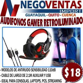AUDIFONOS GAMER RETROILUMINADO EN DESCUENTO EXCLUSIVO DE NEGOVENTAS