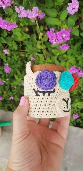 Mates con funda a crochet