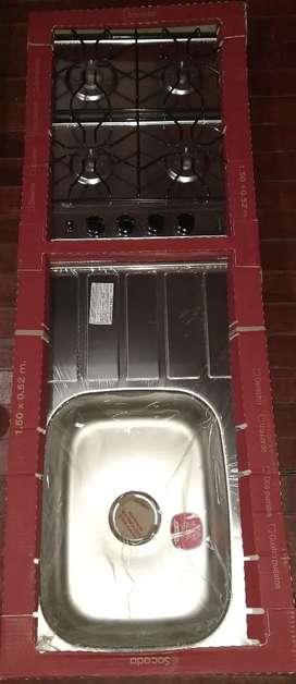 Lavaplatos con estufa 4 puestos