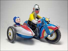 A64 Moto With Sidecar Clockwork Hojalata Replica Vintage