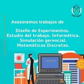 Trabajos de Diseño de experimentos, Estudio del trabajo, Informática, Simulación gerencial, Matemáticas discretas