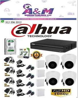 Cámaras De Seguridad Kit Cctv 1080p Dahua Dvr 8ch + 4cámaras