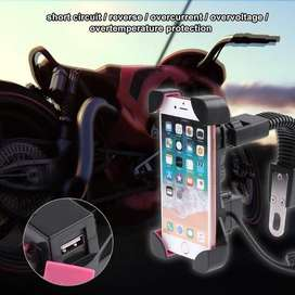 Holder Soporte Celular Y Cargador Para Moto 2 En 1